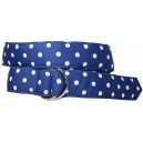 Ladies D-Ring Belt - Blue with White Dots