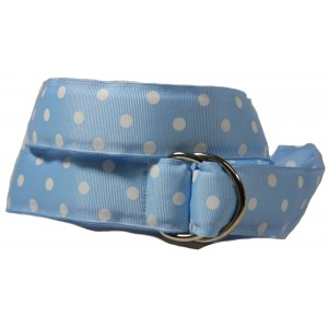 Ladies D-Ring Belt - Azure with White Dots