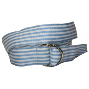 Ladies D-Ring Belt - Light blue and White Stripes