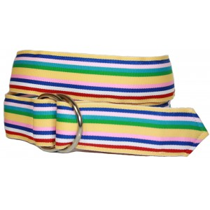 Ladies D-Ring Belt - Multi color Stripes I
